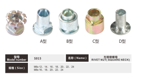M6 M8 Yellow Zinc Or White Zinc  Plated Square Neck Rivet Nut For Screw Bolt Connection