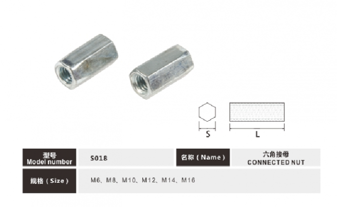 M6-M16 White Zinc Finished Connect Nut Long Nut Spacer Nut For Furniture
