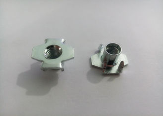 China Iron Shaping 4 Prong Tee Nut , T Nut Inserts Zinc Plated Corrosion Protection supplier